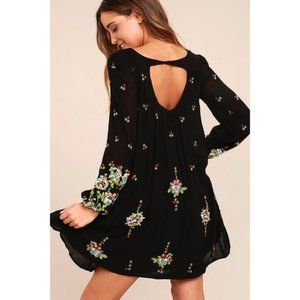 Free People oxford embroidered black swing dress S